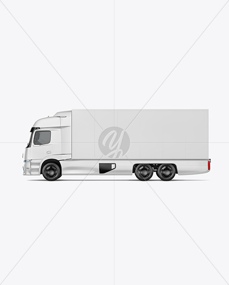 Electric Truck Mockup - Left Side View - Yellowimages Mockups