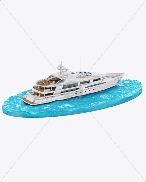 Yacht w/water Mockup - Back Half Side View (High-Angle Shot) - Yellowimages Mockups