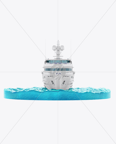 Yacht w/water Mockup - Front View - Yellowimages Mockups