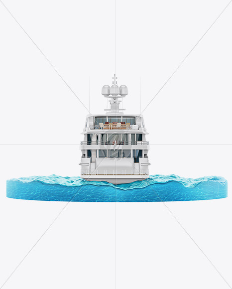 Yacht w/water Mockup - Back View - Yellowimages Mockups