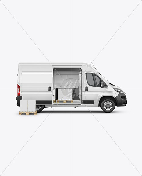 Panel Van Mockup W/Box on Pallet - Side View - Yellowimages Mockups