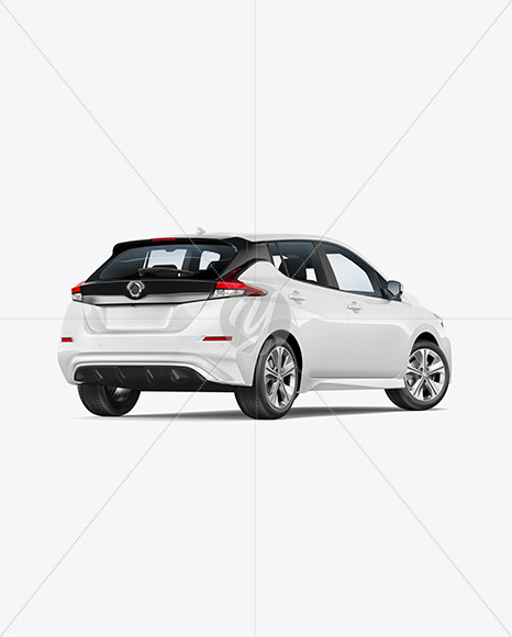 Electric Compact Car Mockup - Back Half Side View - Yellowimages Mockups
