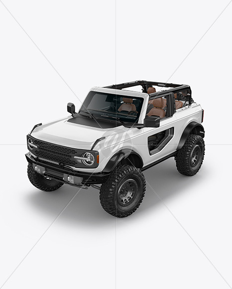 Off-Road SUV Open Roof Mockup - Half Side View (High-Angle Shot) - Yellowimages Mockups