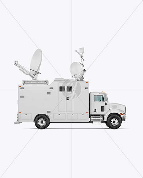TV Truck Mockup - Side View - Yellowimages Mockups