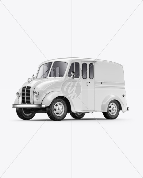 Delivery Truck Mockup - Half Side View (Front) - Yellowimages Mockups