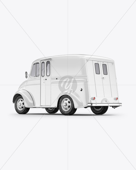 Delivery Truck Mockup - Half Side View (Back) - Yellowimages Mockups