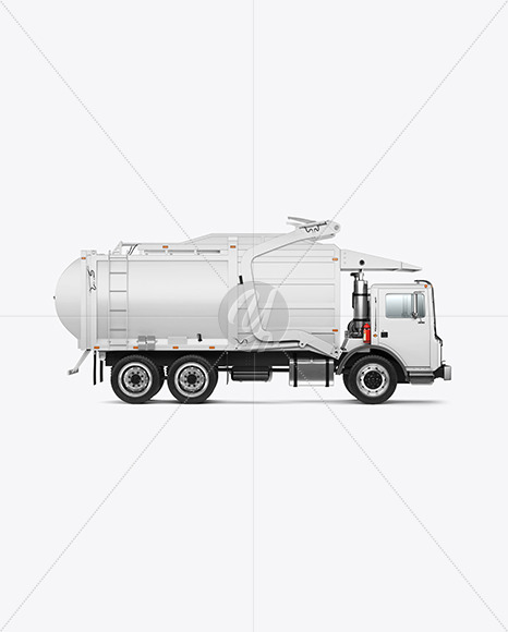 Garbage Truck Mockup - Side View - Yellowimages Mockups