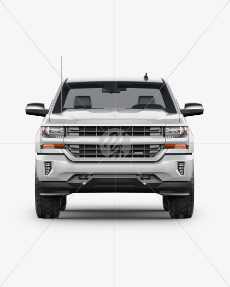 Full-Size Pickup Truck Mockup - Front View - Yellowimages Mockups
