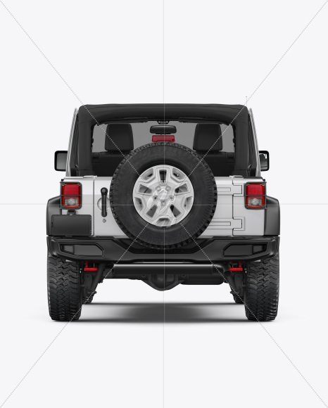Off-Road SUV Open Roof Mockup - Back View - Yellowimages Mockups